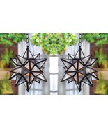 """2 Hanging Star Lanterns w/ Clear Pressed Glass Moroccan Style 14"""" High - $72.95"""