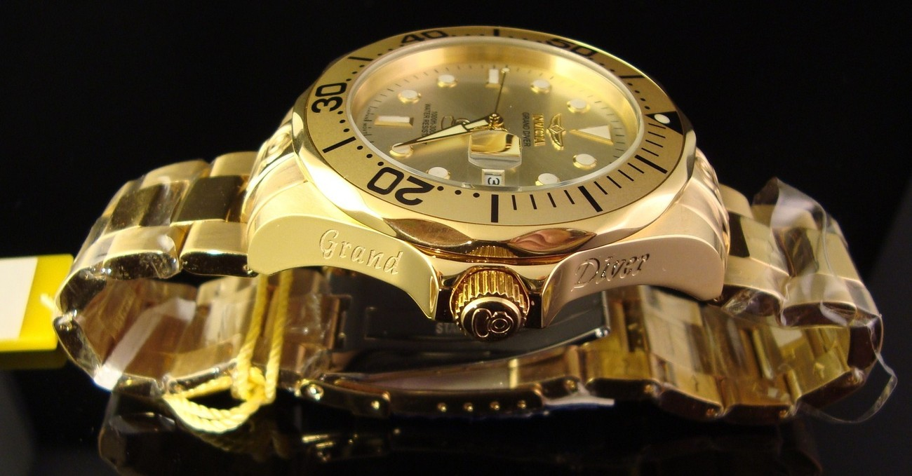 NEW MENS INVICTA 1OOO FT 24 JEWEL S.S.GRAND DIVER GT AUTOMATIC 18K GOLD PLATED