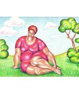 Akimova: LADY IN RED DRESS, landscape, tree, portrait - $17.00