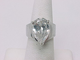10 Carat CUBIC ZIRCONIA Vintage Ring in STERLING Silver - Size 6 -BIG an... - $80.00