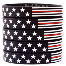 50 Thin Red Line American Flag Wristband Bracelets - USA Flag Fire Fighter Bands - $49.99