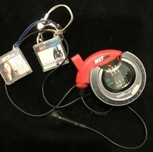 Tiger Hit Clips Micro Music Keychain Personal Player Round Red W 2 Clips - $13.98