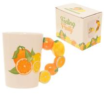 Fun Fruity Oranges and Lemons Shaped Handle Ceramic Mug Gift Present Kitchenware - $14.33