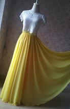 Yellow Chiffon Maxi Skirt Outfit Yellow High Waisted Floor Pleated Chiffon Skirt image 6