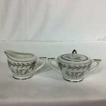 Lefton Vintage White & Silver Trimmed 25th Wedding Anniversary Sugar Creamer Set - $28.01