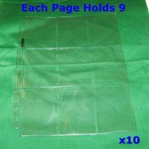 10 9-POCKET BINDER PAGES SHEETS FOR SMALL BANKNOTES FRACTIONALS NOTGELD ... - $2.95