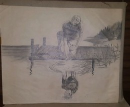 Original Unsigned Pencil Drawing Attr. to Elizabeth Senuta of Boy w Refl... - $24.95