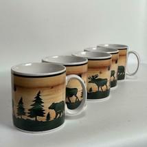 Set of 5 David Carter Brown Sakura LOG CABIN Moose Bear 12 oz Coffee Mug - $29.69
