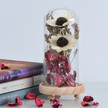 White Flower Valentines Day Gift Well Package Glass Dome Dried Flower Ho... - $30.68