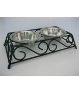 PET CAT SMALL DOG 2 DISHES black wrought iron scroll feeder stand remova... - $21.78