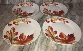 "Royal Norfolk 10 1/2""Dinner Plates Set Of 4 Fall Leaves-Orange Yellow-NE... - $39.08"