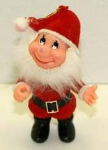 Vintage Plastic & Velvet Christmas Santa Gnome Ornament Tree Decoration ... - $12.87