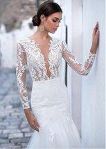 Sexy Deep Lace Long Sleeve Mermaid Wedding Lace Appliqued Backless Wedding Brida image 2