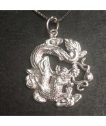 New Solid Anti tarnished 925 Sterling Silver Zodiac Dragon Pendant charm... - $37.39