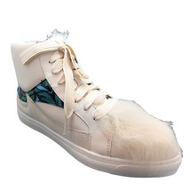 Coach 7.5 Shoes Womens White High Top Sneaker Pointy Toe Lace Up Leather & Fur - $49.50