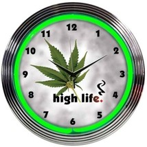 "High Life Leaf Pot Neon Clock 15""x15"" - $59.00"