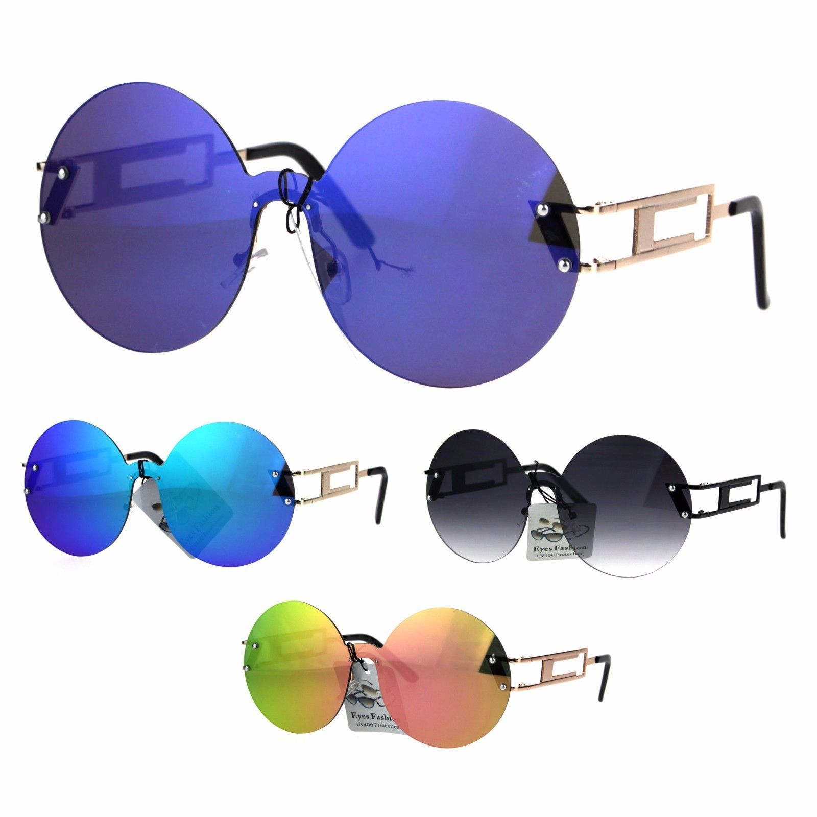 Color Mirror Round Shield Retro Circle Lens Hippie Sunglasses