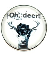 Oh Deer Black White Glass 20mm Snap Charm Interchangeable Fits Ginger Snaps - $6.19