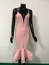 Sexy Solid Pink Fluted Bandage Deep V Party Dress image 4