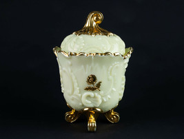 Northwood Louis XV Custard Covered Sugar w Gold Decor, Antique EAPG c.18... - $53.90