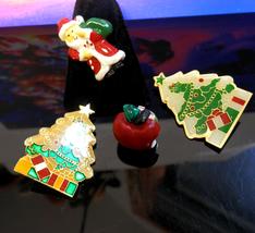 Lot of Holiday Pins Enamel Inlay Christmas Trees Acrylic Apple & Santa - $5.00