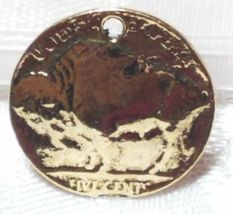 BUFFALO COIN FINE PEWTER PENDANT CHARM - 20mm L x 20mm W x 2mm D image 5