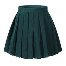 Girls`s High waist School kilt skirt Cosplay Fancy up Costumes (XS,Dark Green) - $21.77