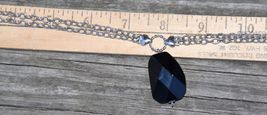 """COOKIE LEE DESIGNER NECKLACE FACETED GLASS SILVER TONE METAL CHAIN COSTUME 15"""" image 5"""