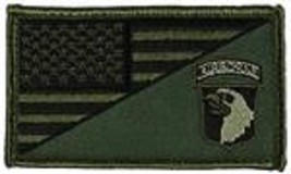 ARMY 101ST AIRBORNE OD GREEN FLAG 2 X 3  EMBROIDERED PATCH WITH HOOK LOOP  - $18.04