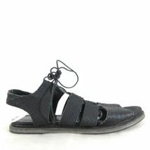 9.5 - FREDA SALVADOR Black Leather Croc Embossed Lace Up Sandals Shoes 0... - $80.00