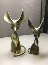 Pair of Vintage Brass Mice Mouse Paperweight Figurines Big Ears - $44.54