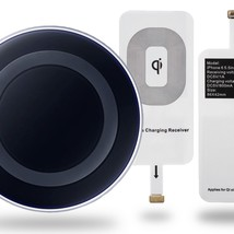 UK Qi Wireless Charger Dock Charging Pad Bundle with Universal iPhone Receiver  - $6.62