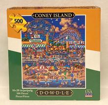 Dowdle Folk Art puzzle Coney Island 500 pc beach roller coaster boardwal... - $8.00