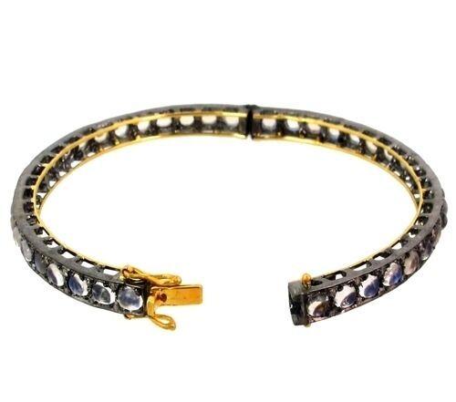 14k Gold Moonstone Bangle Bracelet .925 Sterling Silver Diamond Gemstone Jewelry