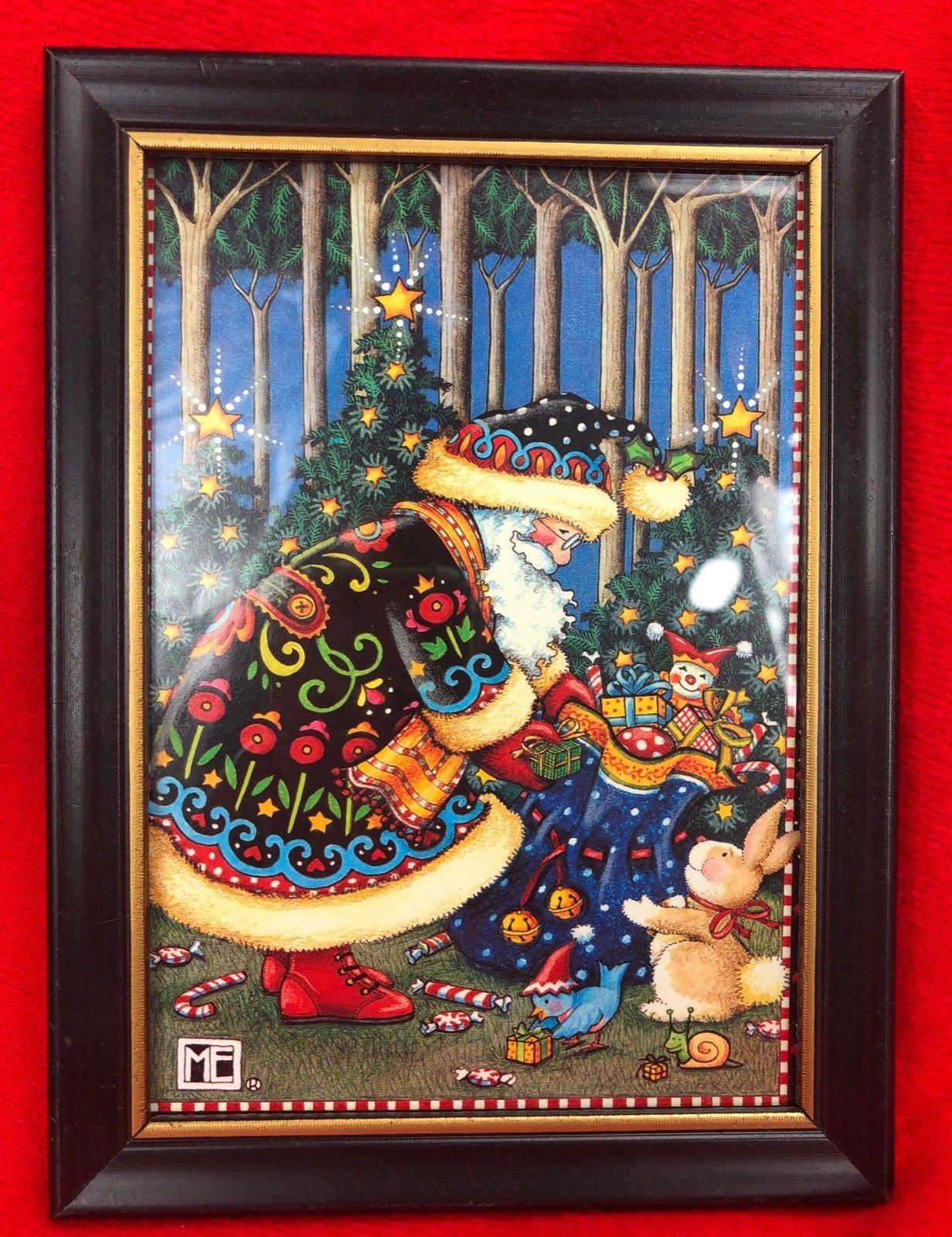 "MARY ENGELBREIT CHRISTMAS ME FRAMED PRINT PICTURE Santa w/ Toy Sack 7.5""x5.5"""