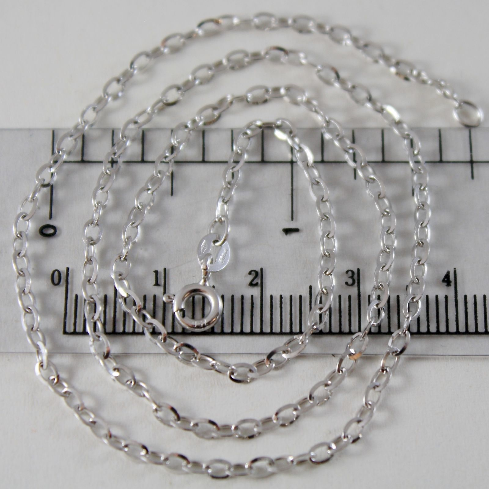 18K WHITE GOLD CHAIN MINI 2 MM ROLO OVAL MIRROR LINK 15.75 INCHES MADE IN ITALY