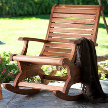 Teak Oiled Plantation Adirondack Outdoor Patio Deck Rocking Rocker Chair... - £268.94 GBP