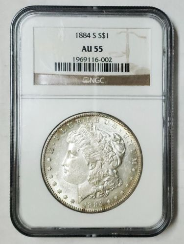 1884S MORGAN SILVER DOLLAR COIN AU55 NGC Lot # SR 1203