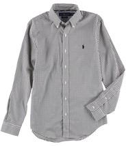RALPH LAUREN White Mens Button Down Slim-Fit Shirt Black XL 3273-4 - $62.94