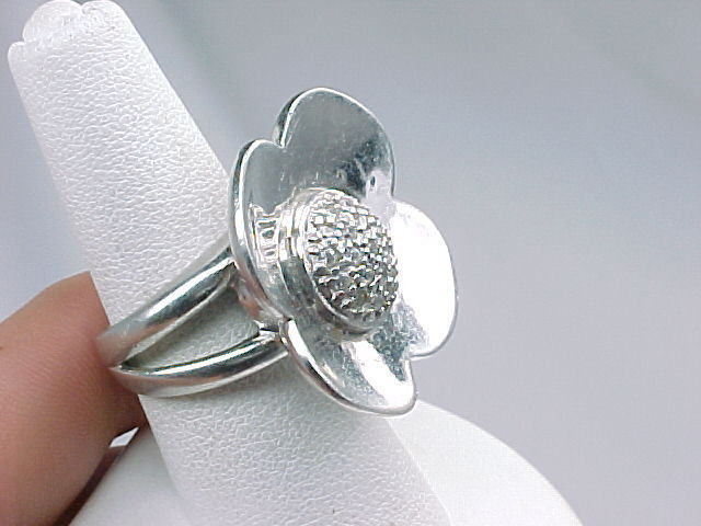 BIG and BOLD Vintage STERLING FLOWER Designer RING with Pave set CUBIC ZIRCONIA
