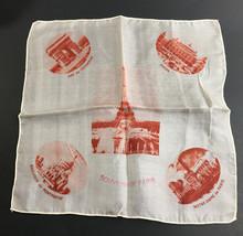 """Vintage Souvenir of Paris Sheer Handkerchief 11"""" x 11"""" - $14.50"""