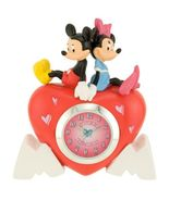 Disney Mickey Mouse and Minnie Quartz Analog Mini Heart Shaped Clock NEW  - $12.00