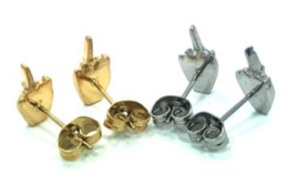 Han Cholo Silver or Gold Plated FU Middle Finger Post Stud Earrings NEW