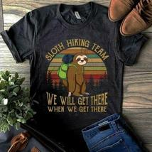 Sloth Hiking Team We Will Get There Vintage Men T-Shirt Black Cotton S-6XL image 5