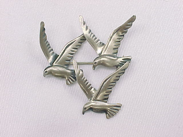 Primary image for THREE BIRD Vintage BROOCH Pin - BEAU STERLING