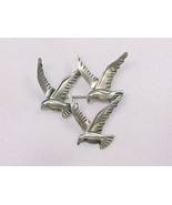 THREE BIRD Vintage BROOCH Pin - BEAU STERLING - £56.68 GBP