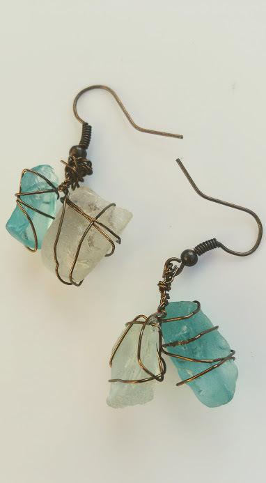 Shoreline Wonder earrings: Blue & white Estonian sea glass in bronze wirework