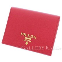 PRADA Saffiano Compact Calf Leather Red 1MV204 Bifold Wallet Italy Authe... - $317.90