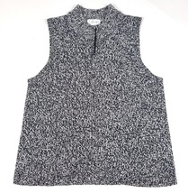 Foxcroft Womens Large Black White Full Zip Sweater Vest EUC Soft Rayon B... - $13.99