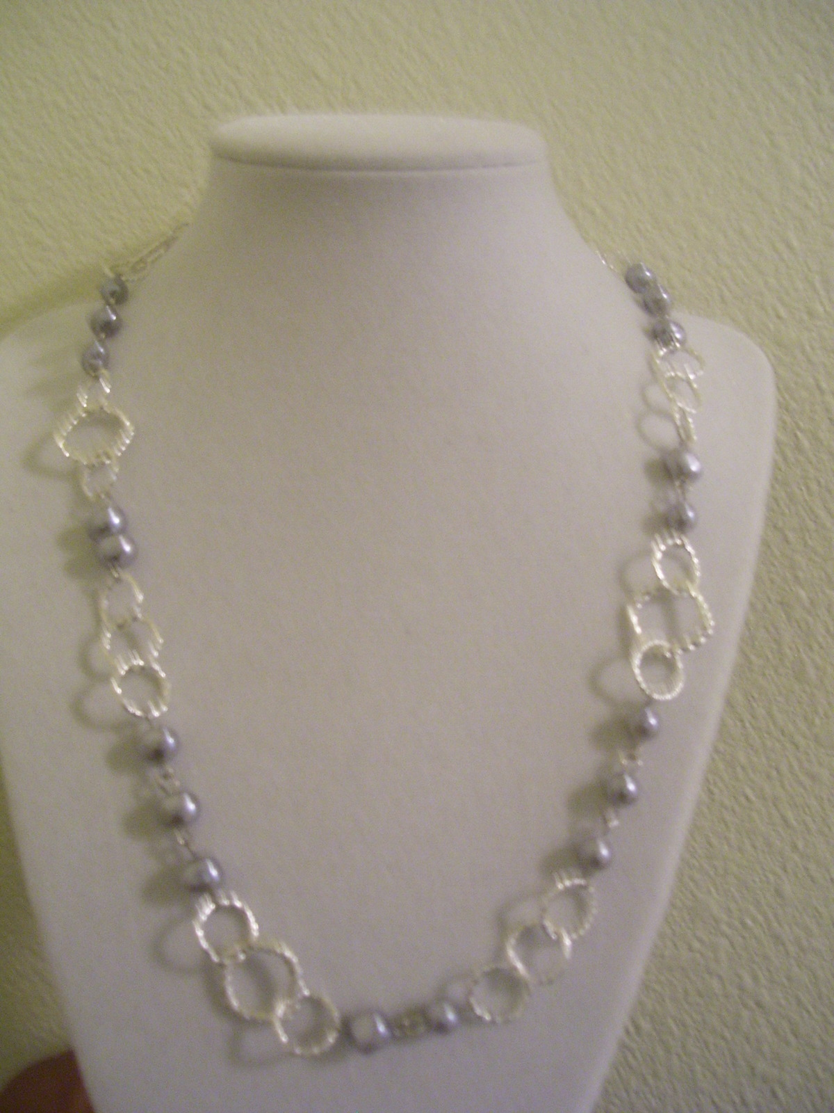 Gray Rice Beaded and Silver Chain Necklace